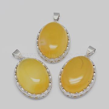 Platinum Oval Yellow Agate Pendants