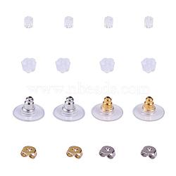 écrous en laiton, laiton avec boucles d'oreilles en plastique, dos de boucle d'oreille en caoutchouc, or et argent(FIND-YW0001-01)