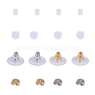 Brass Ear Nuts, Brass with Plastic Earrings Bullet Backs, Plastic Rubber Earring Backs, Golden & Silver(FIND-YW0001-01)