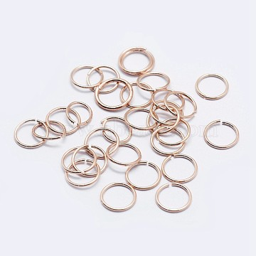 925 Sterling Silver Open Jump Rings, Round Rings, Rose Gold, 5x1mm; Inner Diameter: 3mm; about 100pcs/10g(STER-F036-02RG-1x5mm)