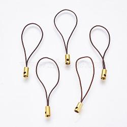 Нейлоновый шнур мобильные ремни, с фурнитурой латунной золотого тона, коричневые, 50x4 мм; отверстие: 1.8 мм(MOBA-F005-03G-12)