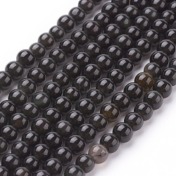 "Perles en obsidienne naturelle, rond, AA grade, noir, 4mm, trou: 1mm; environ 84 pcs/chapelet, 15""(G-G099-4mm-24)"