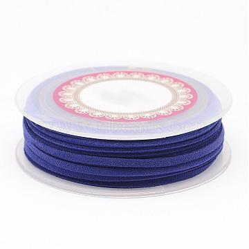 Faux Suede Cord, Faux Suede Lace, Dark Blue, 3x1.5mm, about 5.46 yards(5m)/roll(LW-D009-10)