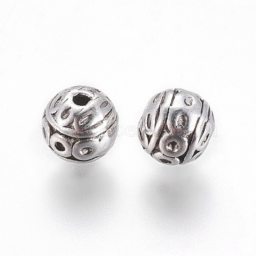 Tibetan Style Beads, Lead Free and Nickel Free, Round, Antique Silver Color, Size: about 8mm in diameter, hole: 1mm(X-PALLOY-ZN191-AS-FF)