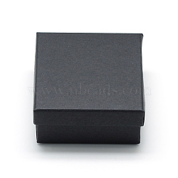Cardboard Paper Jewelry Set Boxes, for Ring, Necklace, with Black Sponge inside, Square, Black, 7x7x3.5cm(CBOX-R036-08B)