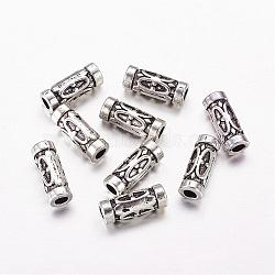 Tibetan Style Alloy Tube Beads, Lead Free & Nickel Free & Cadmium Free, Antique Silver, about 13x5mm, Hole: 2.5mm