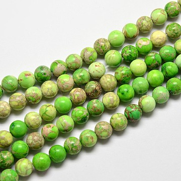 Natural Imperial Jasper Beads Strands, Round, Dyed, Lime, 10mm, Hole: 1mm; about 38pcs/strand, 15 inches(X-G-I122-10mm-01)