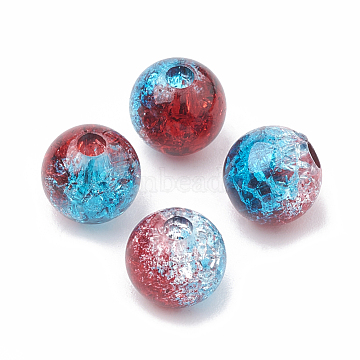 Acrylic Beads, Transparent Crackle Style, Two Tone Style, Round, Dodger Blue, 8mm, Hole: 2mm; about 1840pcs/500g(OACR-N002-01E)