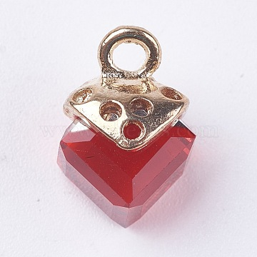 Glass Charms, with Golden Tone Alloy Findings, FireBrick, 15x10x10mm, Hole: 2mm(X-GLAA-WH0003-05)