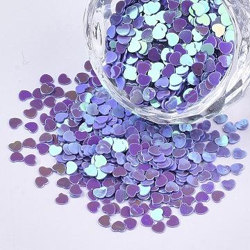 Ornament Accessories, PVC Plastic Paillette/Sequins Beads, AB Color Plated, Heart, Blue Violet, 2.7x3x0.4mm, about 3600pcs/10g(X-PVC-T021-11A)