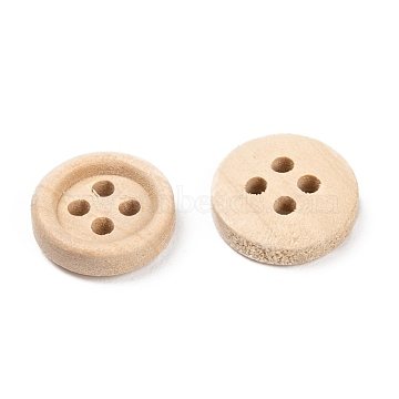 Natural Round 4 Hole Buttons, Wooden Buttons, Wheat, about 13mm in diameter, Hole: 1mm(X-NNA0VFH)