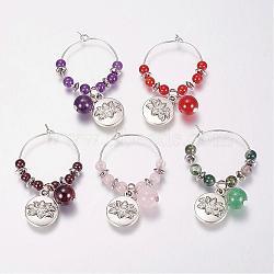charmes de verre de vin de pierres précieuses naturelles, avec pendentifs en alliage de lotus et cerceaux en laiton, 46x27 mm(AJEW-JO00154)