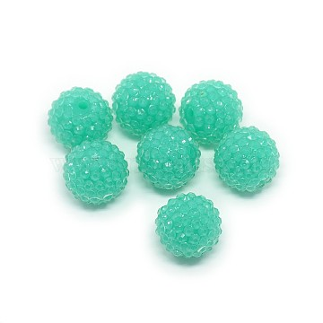 Chunky Resin Rhinestone Bubblegum Ball Beads, Transparent Style, Round, Turquoise, 20x18mm, Hole: about 2.5mm(RESI-S259-20mm-ST23)