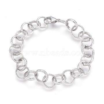 304 Stainless Steel Rolo Chain Bracelets, Textured, with Lobster Claw Clasps, Stainless Steel Color, 8-3/8inches(21.3cm), 11.5mm(BJEW-P237-19P)