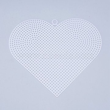 Plastic Mesh Canvas Sheets, for Embroidery, Acrylic Yarn Crafting, Knit and Crochet Projects, Heart, White, 14.8x16.8x0.12x0.75cm, Hole: 4mm(DIY-M007-11)