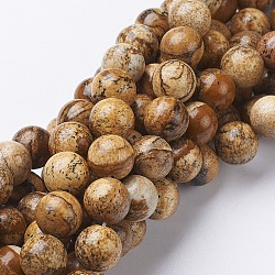 """Chapelets de perles en pierre gemme naturelle, jaspe, rond, 10mm, trou: 1mm; environ 37~39 pcs/chapelet, 15.5""""(GSR10mmC016)"""