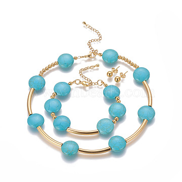 304 Stainless Steel Jewelry Sets, Stud Earrings & Necklaces & Bracelets, with Synthetic Turquoise, Flat Round, Golden, 13.7 inches(35cm); 7-1/8 inches(18cm); 17x6mm, Pin: 0.8mm(SJEW-G073-03G)