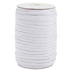 1/4inch Flat Braided Elastic Rope Cord, Heavy Stretch Knit Elastic with Spool, White, 6mm; about 190~200yards/roll (570~600 feet/roll)(X-EC-R030-6mm-01)
