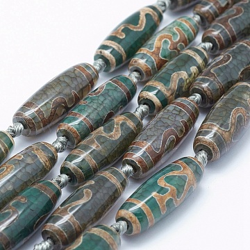 Natural Agate Tibetan Style Nectar Bottle Pattern dZi Beads Strands, Dyed & Heated, Rice, Green, 29~30x9~12mm, Hole: 2mm, about 9~10pcs/strand, 14.5inches(36.8cm)(TDZI-K001-A-01M)
