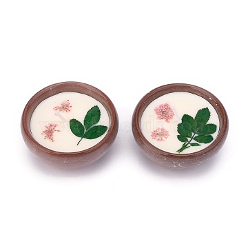 SaddleBrown Porcelain Candles, Bowl Shaped Smokeless Decorations, with Dryed Flowers, the Box only for Protection, No Supply Again if the Box Crushed, Green, 65x31mm, 2pcs/set(DIY-P009-D05)
