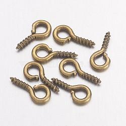 Vis de fer oeil épingle cheville bails, pour la moitié de perles percées, bronze antique, 8x4x1mm, Trou: 2mm(IFIN-E561Y-AB)