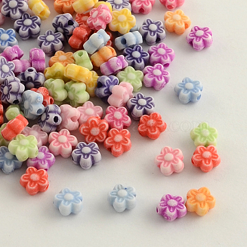 Craft Style Colorful Acrylic Beads, Flower, Mixed Color, 7x4mm, Hole: 1.5mm(X-MACR-Q157-M24)