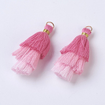 Polyester Tassel Pendants, with Findings, Golden, Pink, 43~50x14~24mm, Hole: 5mm(X-FIND-P026-A09)