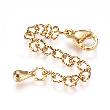 304 Stainless Steel Chain Extender, with Lobster Claw Clasps and Bead Tips, Golden, 68.5mm, Link: 4x2.8x0.5mm, Clasp: 9.3x6x3mm, Charm: 6x3mm.(X-STAS-G221-27G)