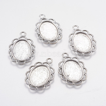 Tibetan Style Pendant Cabochon Settings, Lead Free and Nickel Free, Oval, Antique Silver, Tray: 13.5x17.5mm; 29x20x2mm, Hole: 2mm(X-TIBEP-0584-S-FF)