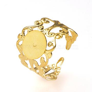 Adjustable Brass Ring Shanks, Filigree Ring Base Findings, Golden, Tray: 10mm, 19mm(KK-R037-260G)