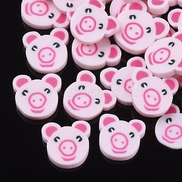 Handmade Polymer Clay Cabochons, Cartoon Piggy Head, Pink, 10~11x9~11x1.5~2mm(X-CLAY-S091-020B)