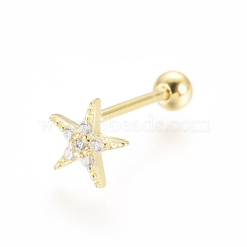 925 Sterling Silver Stud Earrings, Ear Fake Plugs, with Cubic Zirconia and Ball Nuts, Starfish/Sea Stars, Golden, 6x6x1.5mm, Pin: 0.8mm(STER-G031-24G)
