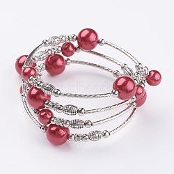 """Bracelets à perles en perles en verre, quatre boucles, Avec perles en laiton et entretoises en perles de fer, argent antique et le platine, firebrick, 2-1/8"""" (53 mm)(BJEW-JB02860-10)"""