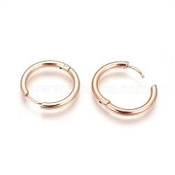 Créoles en 304 acier inoxydable, poli à la main, or rose, intérieur: 10 mm, 14x2mm, pin: 0.7 mm(EJEW-P177-RG-07)