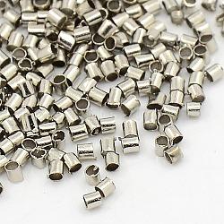 2 mm plaqué platine tube de perles à écraser, Perles en laiton, environ 2 mm de large, Longueur 2mm, Trou: 1.5mm, environ 900 pcs/10 g(X-E003)