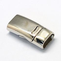 Fermoirs magnétiques en alliage, rectangle, platine, 26x12.5x7mm, demi-trou: 5x10 mm(X-PALLOY-R089-06P)
