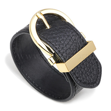 Leather Cord Bracelets, with Alloy Findings, Golden, Black, 10 inches(25.5cm); 28mm Wide(BJEW-L616-17A)