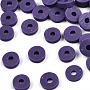 Eco-Friendly Handmade Polymer Clay Beads, Disc/Flat Round, Heishi Beads, Indigo, 8x0.5~1mm, Hole: 2mm, about 13000pcs/1000g
