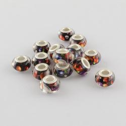 Perles Européennes en acrylique avec grand trou, laiton avec ton argent noyaux doubles, rondelle, chocolat, 14x9mm, Trou: 5mm(X-OPDL-R114-17B)