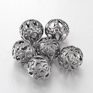 Round Filigree Beads, Filigree Ball, Iron, Gunmetal, 18~20x18mm, hole: 1.5mm(E064Y-B)