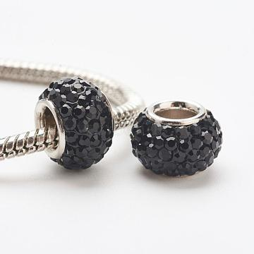 Austrian Crystal European Beads, Large Hole Beads, 925 Sterling Silver Core, Rondelle, 280_Jet, 11~12x7.5mm, Hole: 4.5mm(STER-E049-E07)