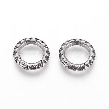 304 Stainless Steel Spring Gate Rings, O Rings, Antique Silver, 23x3.5mm;Inner Diameter: 17mm(STAS-P217-13AS-03)