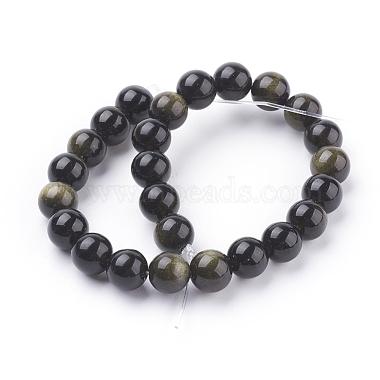 Natural Golden Sheen Obsidian Beads Strands(X-G-C076-8mm-5)-2