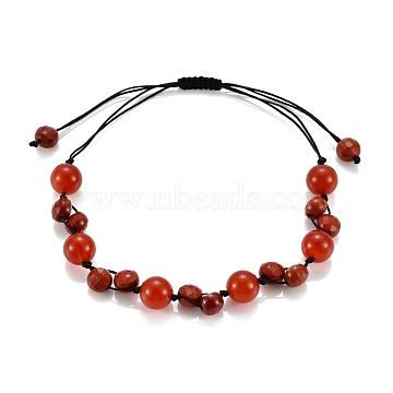 Adjustable Nylon Thread Braided Bead Bracelets, with Natural Carnelian & Red Jasper Beads, Round & Flat Round, Inner Diameter: 1-1/2~3-1/2 inches(3.7~8.8cm)(BJEW-JB05475-03)