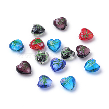 Valentine Gifts for Her Ideas Handmade Silver Foil Lampwork Beads, Heart, Mixed Color, 14~17x15~17mm, Hole: 2mm(X-FOIL-LHH022-M)