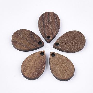 Wood Pendants, Teardrop, Saddle Brown, 17x11x2.5~3mm, Hole: 1.6mm(X-WOOD-S054-37)