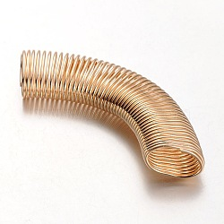 Iron Spring Beads, Coil Beads, Curved Tube Beads, Curved Tube Noodle Beads, Coil Beads, Golden, 100x26x14mm, Hole: 22x11mm(X-IFIN-R192-08)