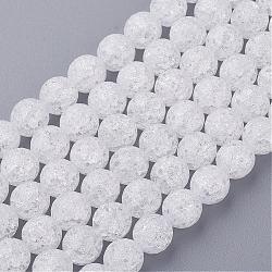 """Синтетический хрустят кварц бисер пряди, 128 граней, круглые, белые, 8 мм, отверстие : 1 мм, около 50 шт / нитка, 16""""(G-SF8MM-44)"""