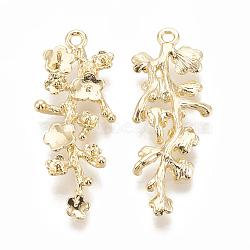 pendentifs en laiton, pour perle à moitié percée, fleur avec branche, réel 18 k plaqué or, 39x15x3.5 mm, trou: 1.8 mm; broches: 0.7 mm(KK-S345-216)