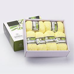 Soft Baby Yarns, with Bamboo Fibre and Silk, Champagne Yellow, 1mm; about 50g/roll, 6rolls/box(YCOR-R024-ZM017)